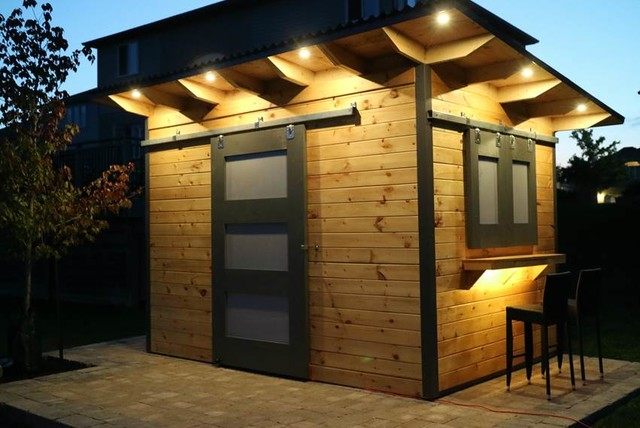 Modern Bar Shed with Sliding Barn door an siding Windows