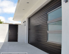 Modern Garage Door, Matching Pedestrian Gates & Steel Architectural Entry Gates modern-garage-and-shed