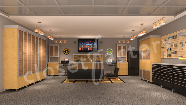 Modern Garage Mancave With Tool Chests Contemporary