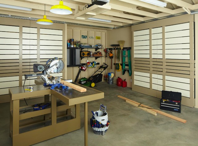 Multipurpose Garage Workspace with Sliding Doors modern garage and shed