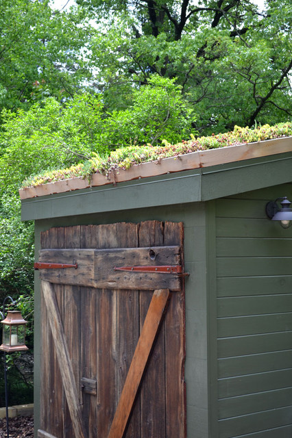 Wyncote home - exterior rustic-garage-and-shed