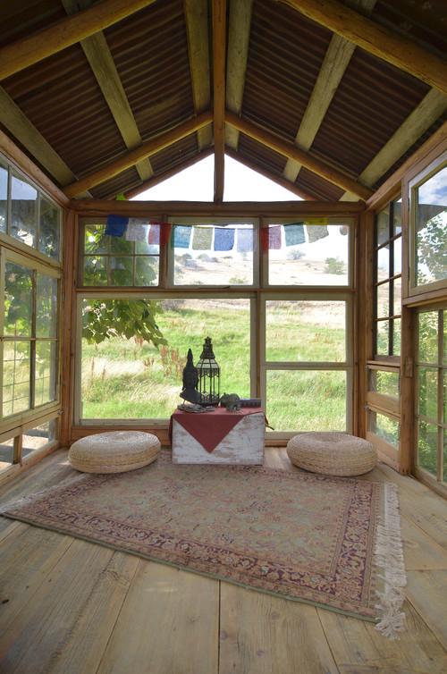 upcycled greenhouse meditation room