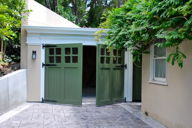 Out Swing Carriage Garage Doors Traditional Shed