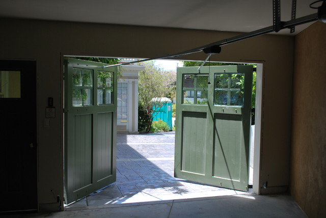 Out Swing Carriage Garage Doors Traditional Garage And