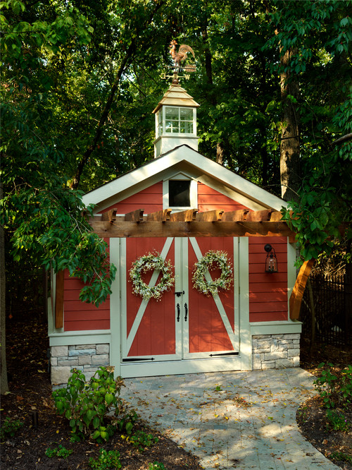 Joyful orange colored shed