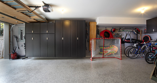 Pewter Garage Cabinets with gray slatwall - Traditional - Shed ...