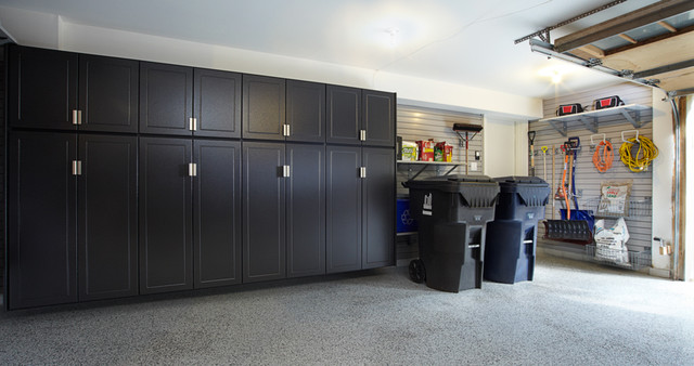 pewter garage cabinets with gray slatwall - traditional - shed