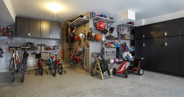 Pewter Garage Cabinets with gray slatwall - Traditional ...