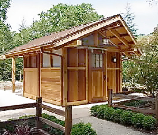Pool house japanese bath house asian garage and shed for Japanese style garden buildings