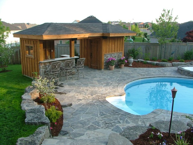 Pool shed with bar area traditional shed toronto for Garden cabana designs