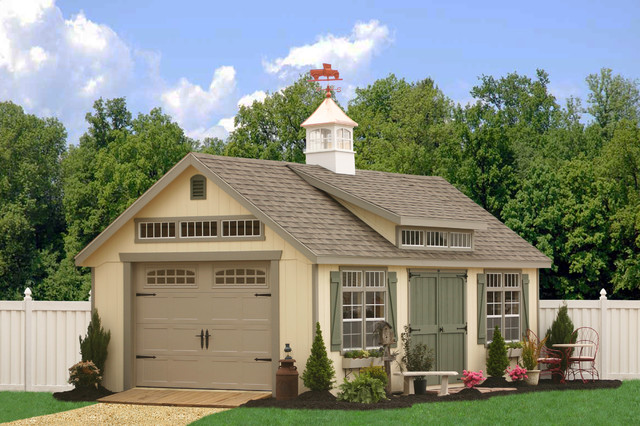 Prefab one car garage sheds traditional shed for Prefab one car garage