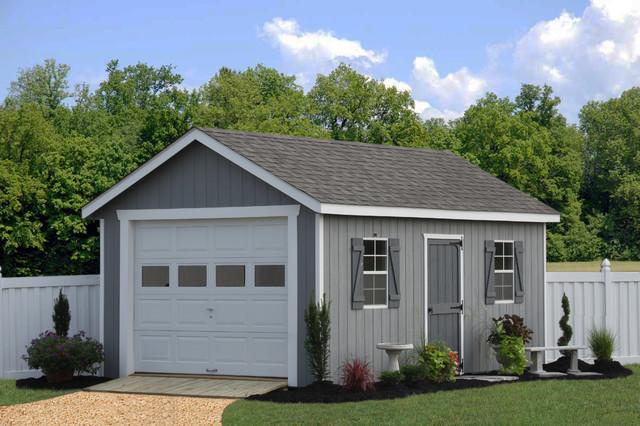 Prefab one car garage sheds traditional shed for 1 5 car garage door