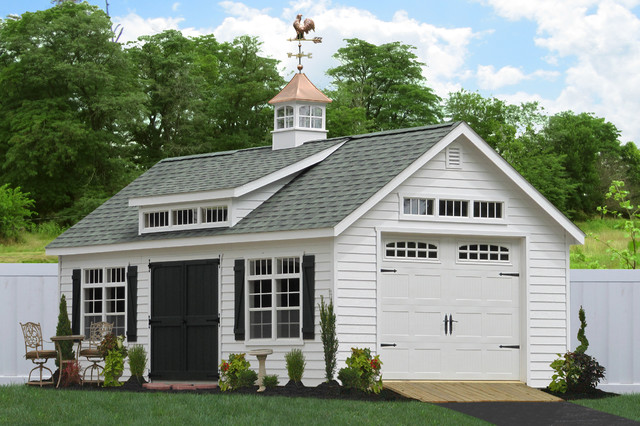 Prefab one car garage sheds traditional shed for 1 car garage cost