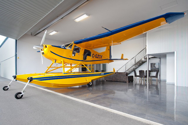 Private Airplane Hangar Contemporary Garden Shed and Building