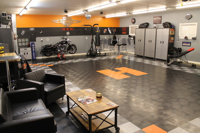RaceDeck Garage Floor makes this Harley-Davidson Garage Theme - Shed