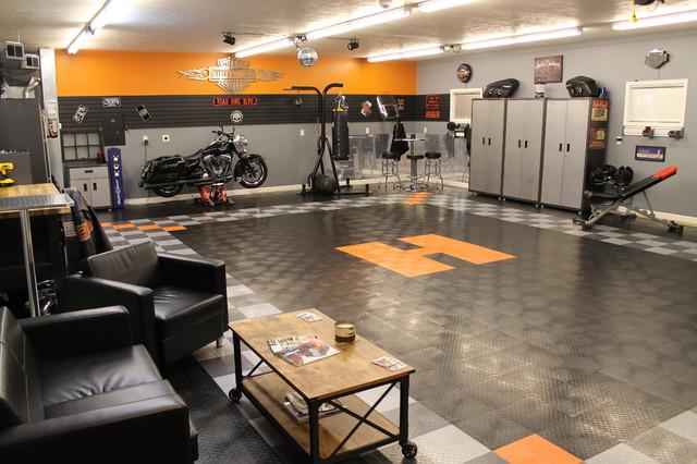 Racedeck Garage Floor Makes This Harley Davidson Garage Theme Shed