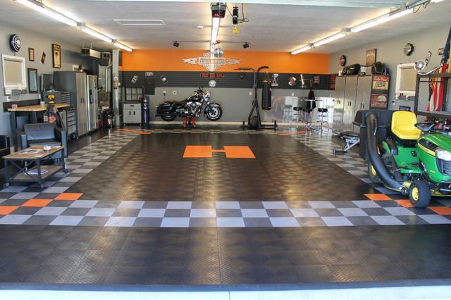 RaceDeck Garage Floor Makes This Harley Davidson Theme