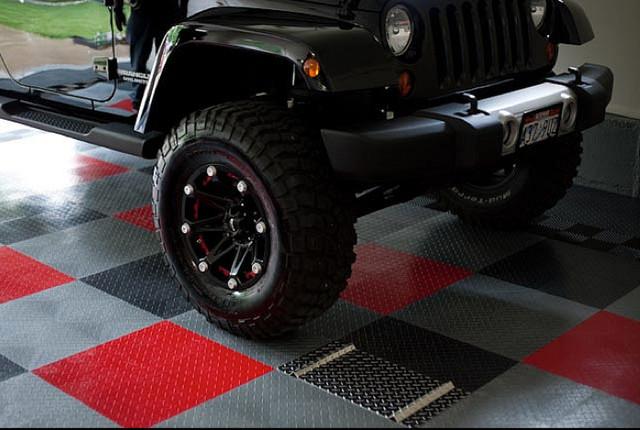 Racedeck garage floor tiles in cool garage industrial for Cool garage floors