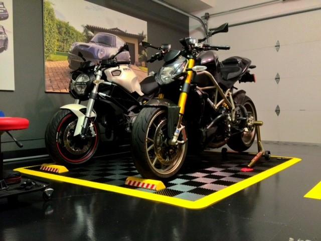 RaceDeck Garage Flooring Motorcycle Parking Pad