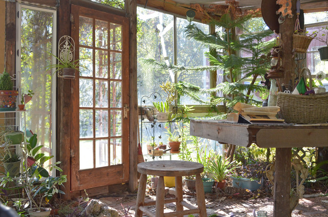 Recycled Greenhouse in Piny Woods of Texas eclectic-garage-and-shed