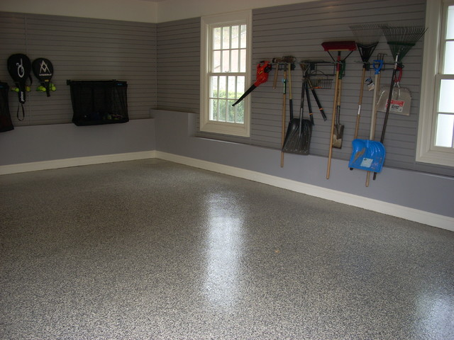 Redline Garage Cabinets, Slat Wall, LCG Custom Floor - Contemporary - Garage And Shed ...