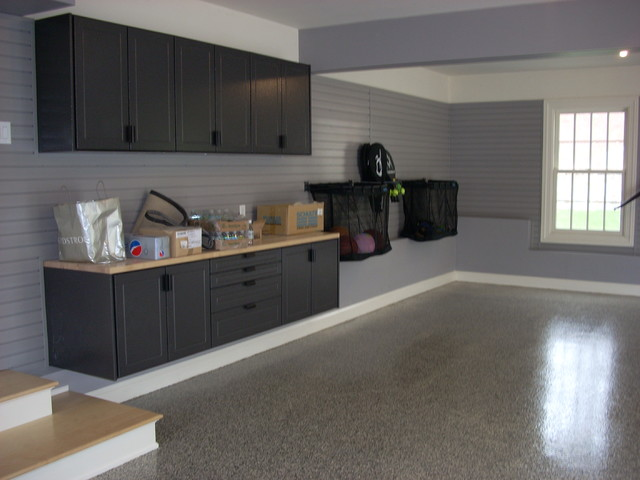 Redline Garage Cabinets, Slat Wall, LCG Custom Floor - Contemporary - Shed - bridgeport - by ...