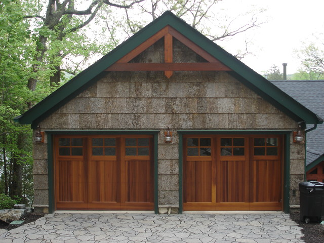 Rustic Lake House Exterior Garage