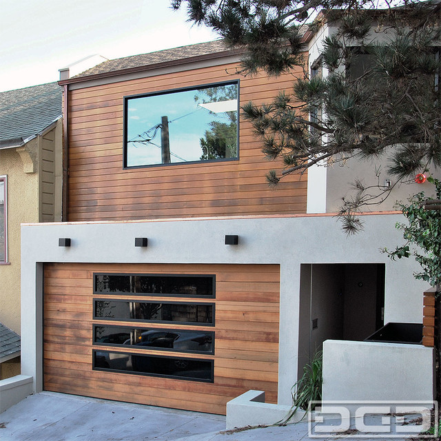 San Francisco Bay Area Custom Garage Door In A Modern Design With Glass  Panels Modern