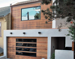 San Francisco Bay Area Custom Garage Door in a Modern Design With Glass Panels modern-garage-and-shed