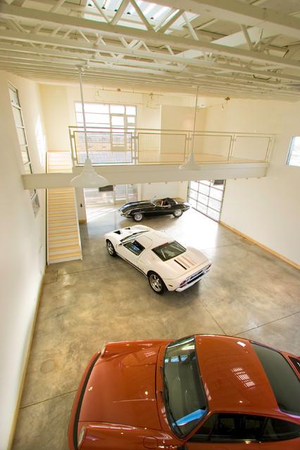 Santa Fe Race Car Lofts modern-garage-and-shed