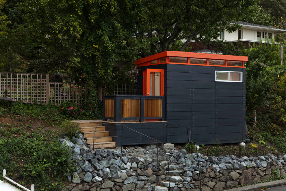 Inspiration for a small contemporary detached studio / workshop shed remodel in Seattle