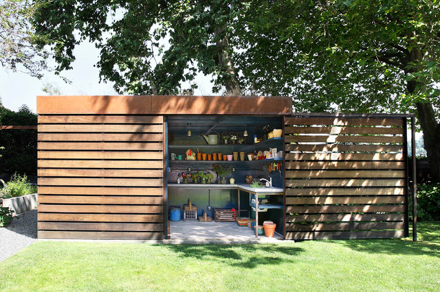 garden design with garden shed home design ideas pictures remodel and decor with landscaping - Shed Design Ideas