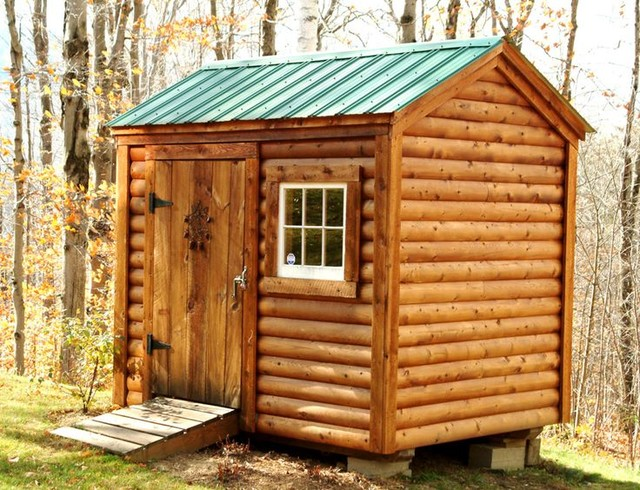 Shed kits 6 39 x 8 39 nantucket log cabin siding for Traditional garden buildings