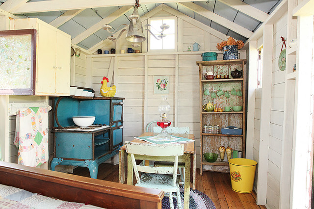 Shed Turned Guest Space Shabby chic Garage And Shed