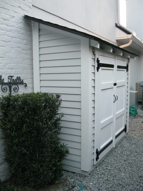 Small Storage Along The Side Of A House Traditional Garden Shed And