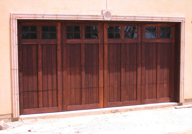 Stained wood garage doors modern shed austin by for Wood stained garage doors