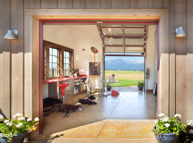 Stock Farm Residence rustic-garage-and-shed