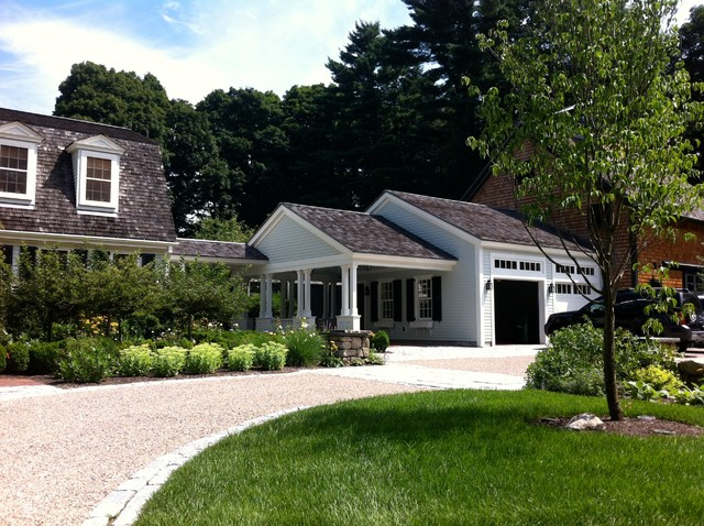 Sally shed design houzz for Attached garage plans with breezeway
