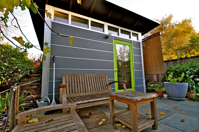 Studio Shed Home Office With Sun Shade To Filter Light Contemporary Shed