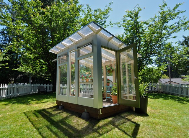 Studio sprout 8x10 greenhouse modern shed portland for Garden greenhouse design
