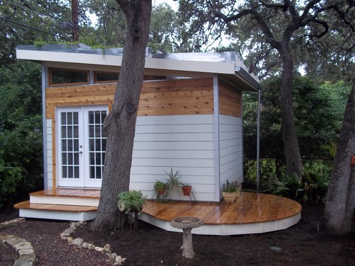 Tiny house studio- Contemporary Garage And Shed by Austin Landscape ContractorsPurple Fountain Tree
