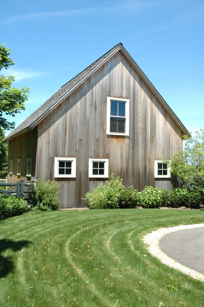 Barn - large farmhouse detached barn idea in Boston