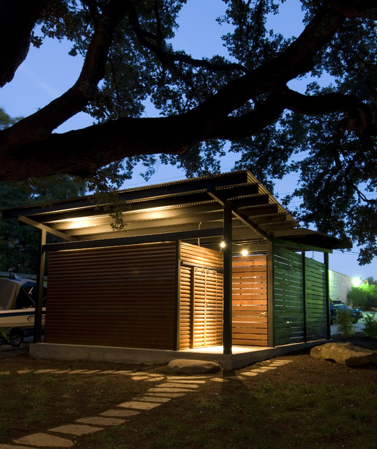 The outside modern-garage-and-shed