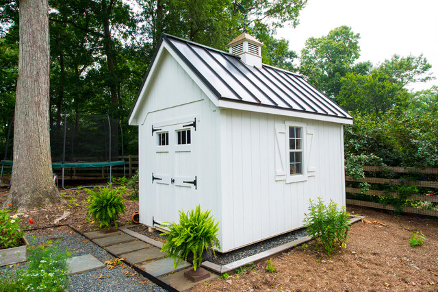 Charming White Hall Renovations Traditional Shed