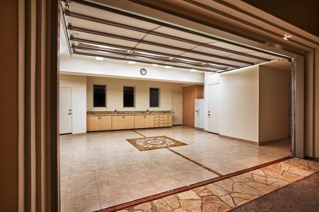 Travertine Porcelain Garage Floor - Traditional - Shed - Orange ...