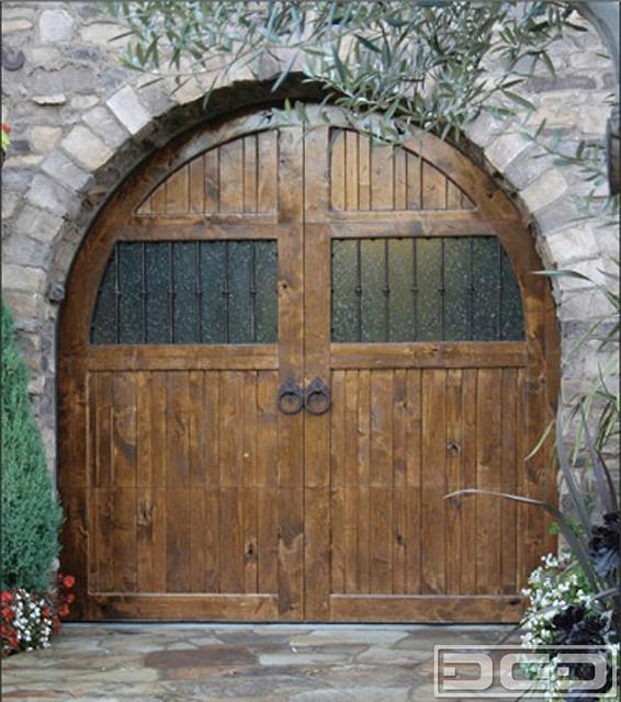 Tuscan Garage Door 10 | European Design With Iron Hardware & Antique Glass!  mediterranean- - Antique Garage Doors Antique Furniture