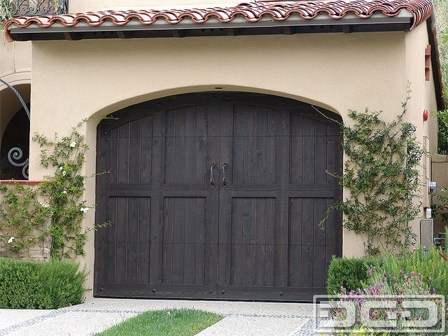 Tuscan garage door 11 dark stained tuscan garage doors for Stained garage doors