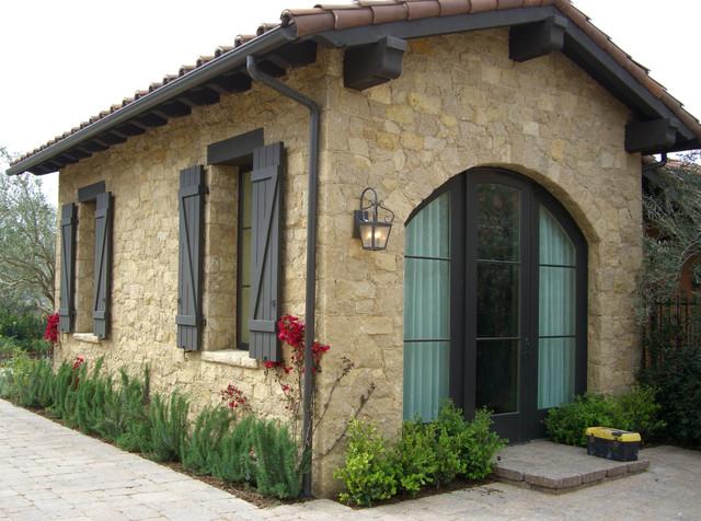 garage exterior ideas pergola - Tuscan Limestone Mediterranean Garage And Shed other