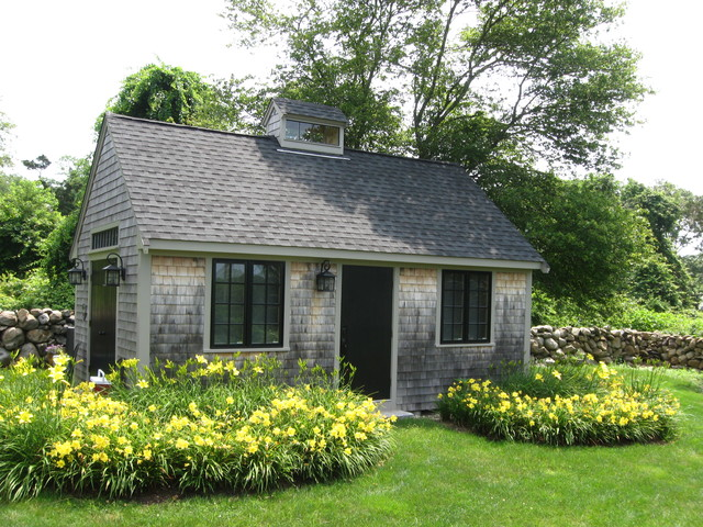 Westport garden cottage rustic shed boston by paul for Backyard cottage shed