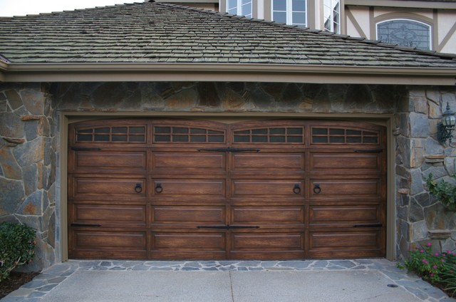 Wood furniture finishes faux traditional shed for Faux wood garage doors